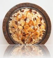 Rice with nuts and figs, apricots
